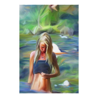 Woman In Creek Prints Print