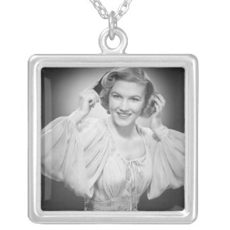 Woman in Dress 2 Silver Plated Necklace