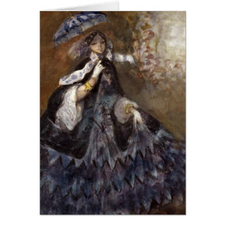 Woman in Dress with Parasol Greeting Card