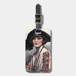Woman in Embroidered Blouse Luggage Tag
