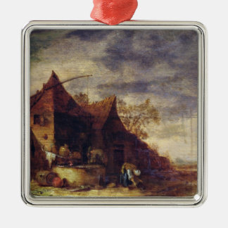 Woman in Front of a Cottage Christmas Ornament