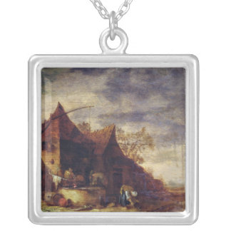 Woman in Front of a Cottage Silver Plated Necklace