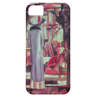 Woman in front of a large illuminated window iPhone 5 covers