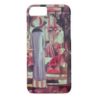 Woman in front of a large illuminated window iPhone 7 case