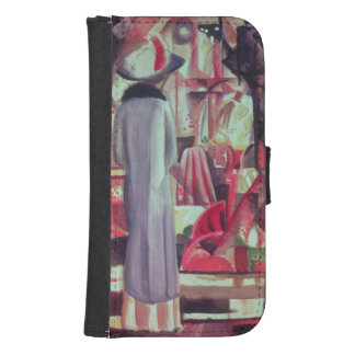 Woman in front of a large illuminated window samsung s4 wallet case