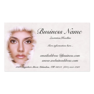 Woman in Fur Like Fabric Business Cards