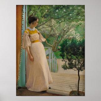 Woman in garden doorway CC0495 Cardstock Poster