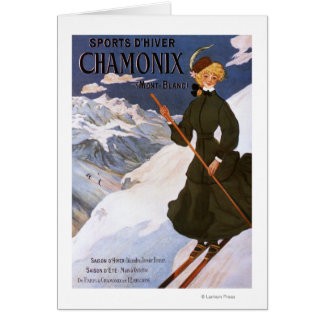 Woman in Green Skiing Poster Card