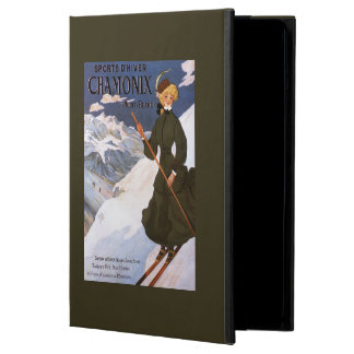 Woman in Green Skiing Poster iPad Air Covers