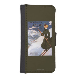 Woman in Green Skiing Poster iPhone SE/5/5s Wallet Case