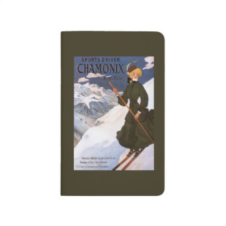 Woman in Green Skiing Poster Journals