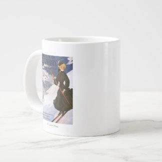 Woman in Green Skiing Poster Large Coffee Mug