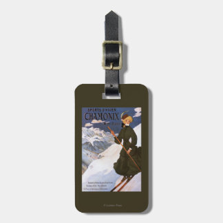 Woman in Green Skiing Poster Luggage Tag