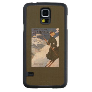 Woman in Green Skiing Poster Maple Galaxy S5 Case