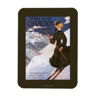 Woman in Green Skiing Poster Rectangular Photo Magnet
