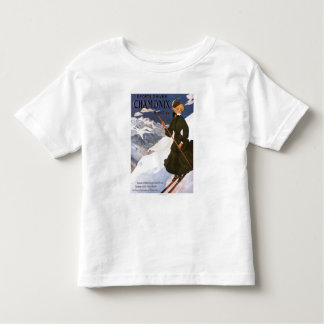 Woman in Green Skiing Poster Tees