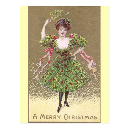 Woman in Holly Dress with Mistletoe Christmas Postcard