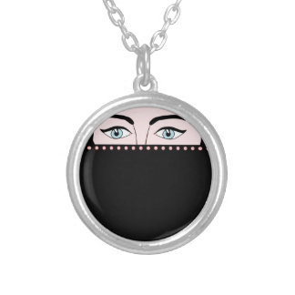 Woman in nikab round pendant necklace