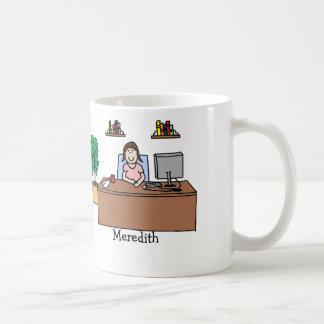 Woman in office coffee mugs