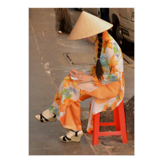Woman in Orange and Conical Hat Poster