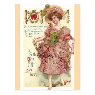 Woman in Pink Glitter Dress Valentine Postcard