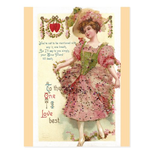 Woman in Pink Glitter Dress Valentine Post Cards