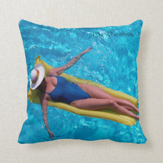 Woman in pool image for Polyester Throw Pillow Cushion