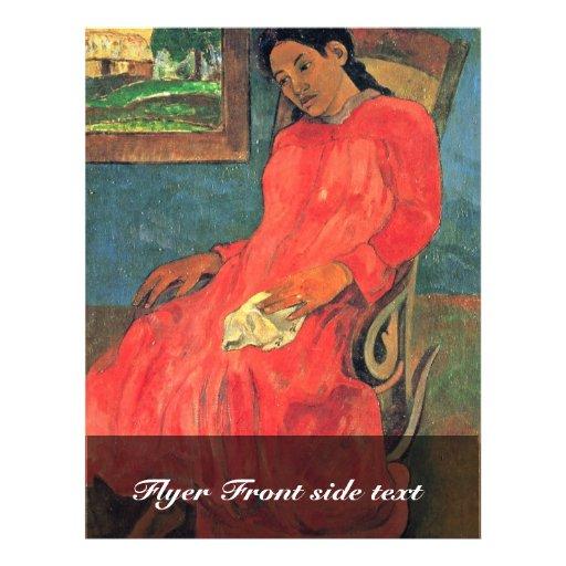 Woman In Red Dress By Paul Gauguin (Best Quality) 21.5 Cm X 28 Cm Flyer