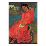 Woman In Red Dress By Paul Gauguin (Best Quality) Print