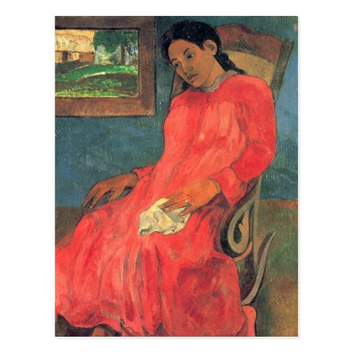 Woman in red dress - Paul Gauguin Post Cards