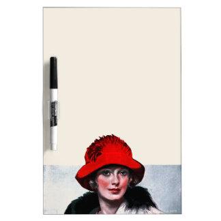 Woman in Red Hat Dry Erase Board
