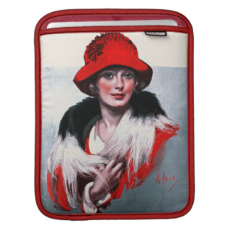 Woman in Red Hat iPad Sleeve