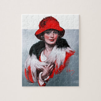 Woman in Red Hat Jigsaw Puzzle