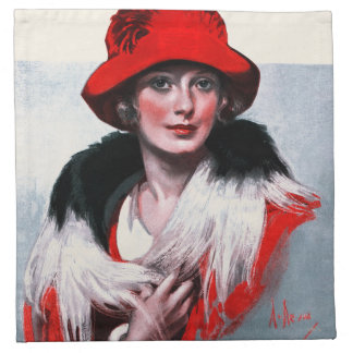 Woman in Red Hat Napkin