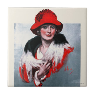 Woman in Red Hat Tile