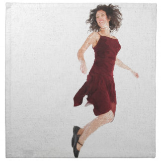 Woman in red jumping napkin
