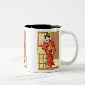 Woman in Red Kimono Mug