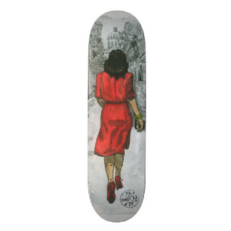 Woman in Red Skate Board