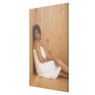 Woman in Sauna Canvas Print