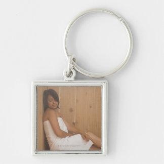 Woman in Sauna Key Ring