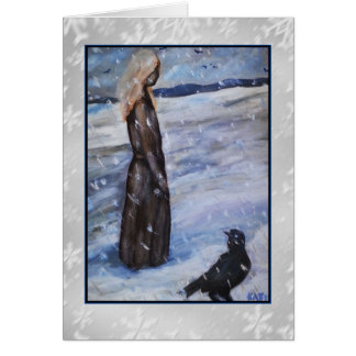 Woman in Snow with Crow Art Card