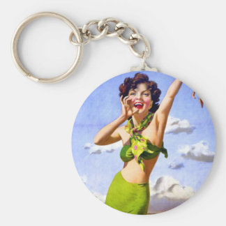 Woman in Swimsuit at the Beach Basic Round Button Key Ring