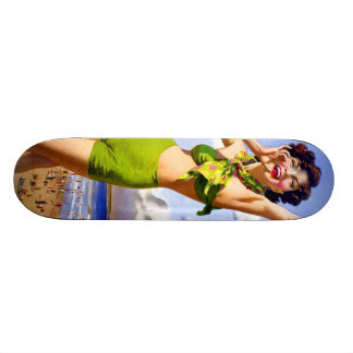 Woman in Swimsuit at the Beach Custom Skate Board