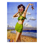 Woman in Swimsuit at the Beach Posters