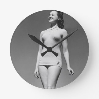 Woman in Swimsuit Round Clock