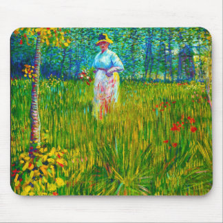 Woman in the Garden by Vincent Van Gogh Mouse Mat