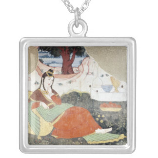 Woman in the Garden of Shah Abbas I Silver Plated Necklace