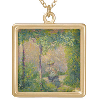 Woman in the Garden (oil on canvas) Gold Plated Necklace