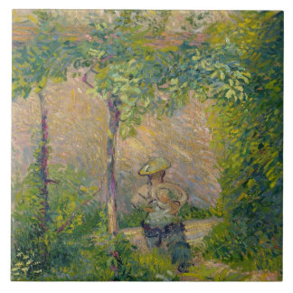 Woman in the Garden (oil on canvas) Large Square Tile