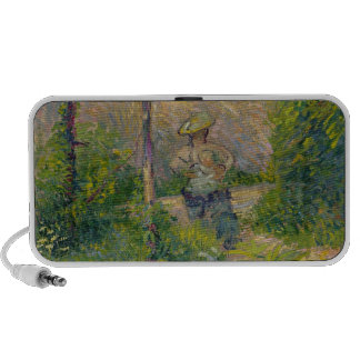 Woman in the Garden (oil on canvas) Portable Speaker